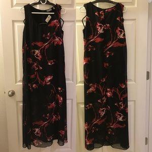 Neiman Marcus Flame Flower Long Dress Gown Zipper
